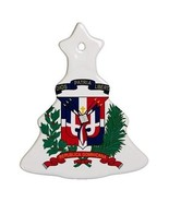 Dominican Republic Coat of Arms Porcelain Christmas Tree Shaped Ornament - $4.72