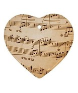 Music Notes Heart Porcelain Christmas Ornament - $4.72