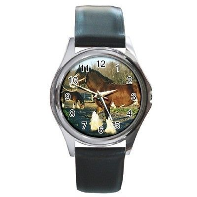 Sabino Clydesdale Horse Round Leather Band Watch