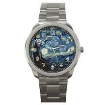 Van Gogh Starry Night Round Sport Metal Watch - $9.39