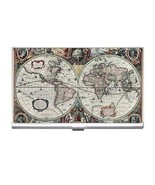 Ancent World Map Business Card Holder New - $6.59