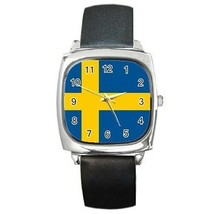 Sweden Flag Square Leather Band Watch Swedish - $9.39