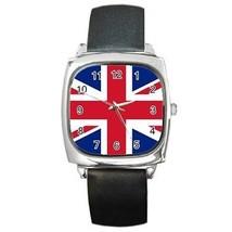 UK British Flag Union Jack Square Leather Band Watch - $9.39