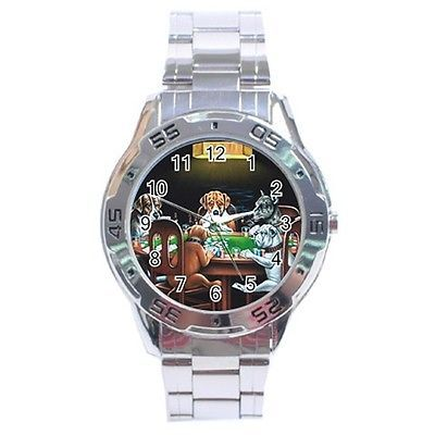 Dogs Playing Poker Stainless Steel Analogue Watch