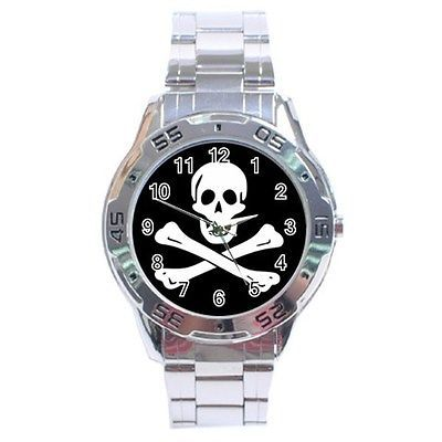 Pirate Skull and Crossbones Stainless Steel Analogue Watch
