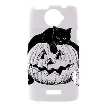 Halloween Black Cat Pumpkin Hardshell Case for HTC One X - $14.07