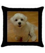 Maltese Puppy Dog Throw Pillow Case - $12.20