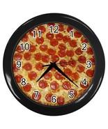 Pepperoni Pizza Round Black Wall Clock - $15.94