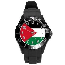 Palestine Palestinian Flag Round Plastic Black Sport Watch Large Size - $9.39