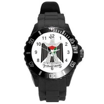Palestine Palestinian Coat of Arms Plastic Black Sport Watch Large Size - $9.39