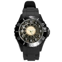 Retro Rotary Dial Telephone Plastic Black Sport Watch Large Size - $9.39