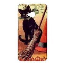 Halloween Black Cat Witches Hat Broom Hardshell Case for HTC One M7 - $14.07