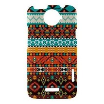Geometric Aqua Orange Tribal Pattern Hardshell Case for HTC One X - $14.07