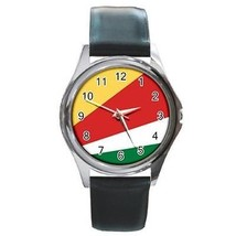 Seychelles Flag Round Leather Band Watch - $9.39