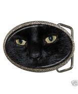 Black Cat Eyes Belt Buckle New Chrome Finish Zinc Alloy - $6.59