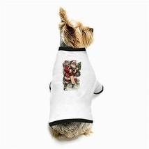 Christmas Santa Claus Presents Sled Wreath White Puppy Dog T-Shirt - $11.26