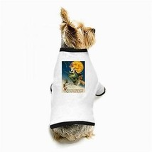 Halloween Flying Witch Owl Full Moon White Puppy Dog T-Shirt - $11.26