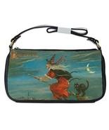Halloween Flying Witch Black Cat Crescent Moon Shoulder Clutch Bag - $16.87