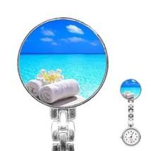 Tropical Blue Ocean Water Towel Flowers Womans Stainless Steel Nurse Watch - $11.26