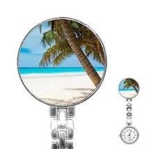 Tropical Island Beach Palm Tree Sand Ocean Womans Stainless Steel Nurse Watch - $11.26