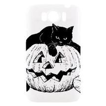 Hallowen Black Cat Jack O Lantern Pumpkin Hardshell Case for HTC Sensati... - $14.07