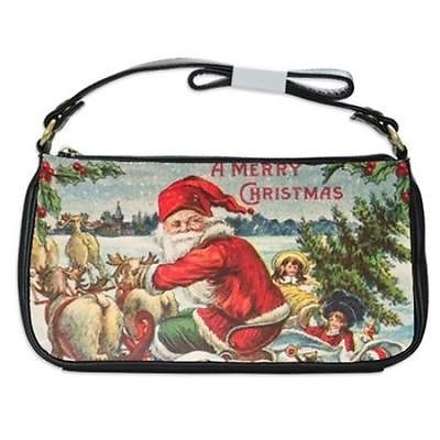 A Merry Christmas Santa Claus Sleigh Reindeer Toys Tree Shoulder Clutch Bag