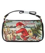 A Merry Christmas Santa Claus Sleigh Reindeer Toys Tree Shoulder Clutch Bag - $16.87