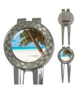 Tropical Island Paradise Palm Trees Sand Beach Blue Ocean 3-in-1 Golf Divot - $8.46