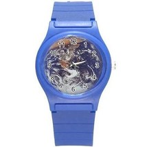 Planet Earth Round Plastic Blue Sport Watch - $8.46