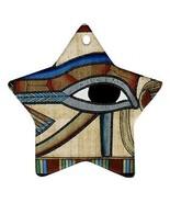 Ancient Egypt Eye of Horus Star Shaped Porcelain Christmas Ornament - $4.72