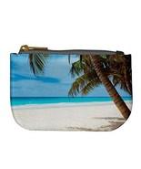 Tropical Island Paradise Beach Palm Trees Sand Ocean Coin Bag Purse - $4.72