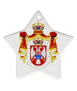 Yugoslavia Coat of Arms Star Shaped Porcelain Christmas Ornament - $4.72