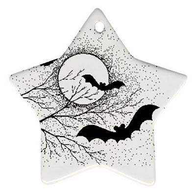 Primary image for Halloween Bats Full Moon Trees Star Shaped Porcelain Christmas Ornament