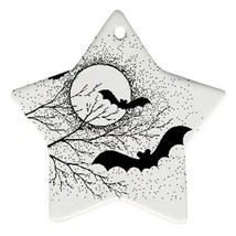 Halloween Bats Full Moon Trees Star Shaped Porcelain Christmas Ornament - $4.72