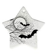 Halloween Bats Full Moon Trees Star Shaped Porcelain Christmas Ornament - $6.22 CAD