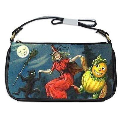 Halloween Witch Black Cat Scarecrow Full Moon Shoulder Clutch Bag