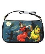 Halloween Witch Black Cat Scarecrow Full Moon Shoulder Clutch Bag - $16.87