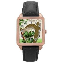 Star Patrick's Day Harp of Erin 3 Leaf Clover Sign Rose Gold Leather Watch - $11.26