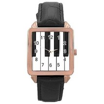 Piano Keys Keyboard Rose Gold Leather Watch - $11.26