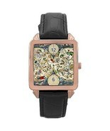 Celestial Map Star Chart Astrology Rose Gold Leather Watch - $15.97 CAD