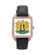 Syria Syrian Coat of Arms Rose Gold Leather Watch - $11.26