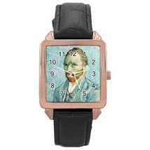 Van Gogh Self Portrait Rose Gold Leather Watch - $11.26