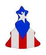 Puerto Rico Puerto Rican Flag Porcelain Christmas Tree Shaped Ornament - $4.72