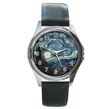 Van Gogh Starry Night Round Leather Band Watch - $9.39