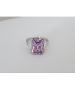 Vintage Sterling Silver White Topaz & Amethyst Ladies Ring Size 8 - $40.00