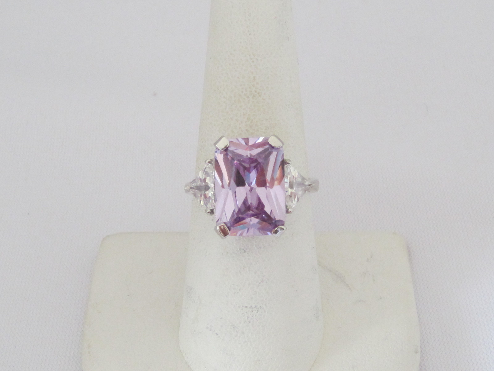 Vintage Sterling Silver White Topaz & Amethyst Ladies Ring Size 8