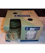 TARTAN ANCHOR HOCKING Set of 4 Glasses Box Olive Green Rocks 10 oz Old F... - $25.69