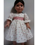 "Vintage Handmade White With Roses Victorian Style Day Dress Fits 18"" (AG) Doll - $19.28"