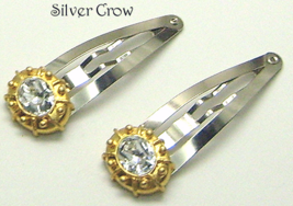 Gold Tone & Oval Rhinestone Hair Clips - $6.49