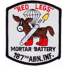 """Us Army 187TH Abn Inf Mortar """"Red Legs"""" Patch 3.12'' By 3.62'' - $13.85"""